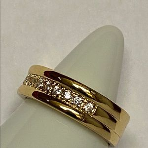 Sterling silver gold plated ring Sz 6 white topaz